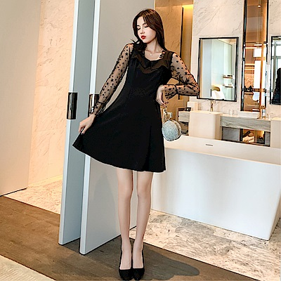 DABI 韓系小翻領五角星網紗袖拼接純色長袖洋裝