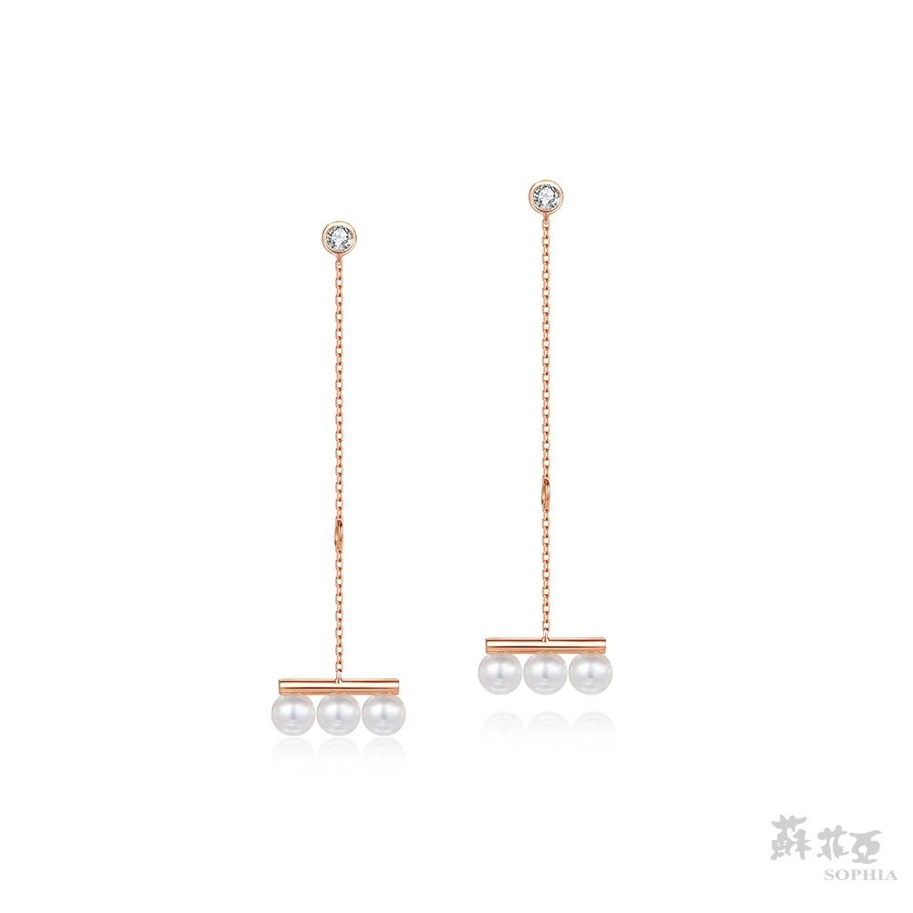 SOPHIA 蘇菲亞珠寶 - 清新典雅垂墜 14K玫瑰金 珍珠耳環