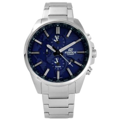 EDIFICE CASIO 卡西歐 三環不鏽鋼手錶-藍色/44mm