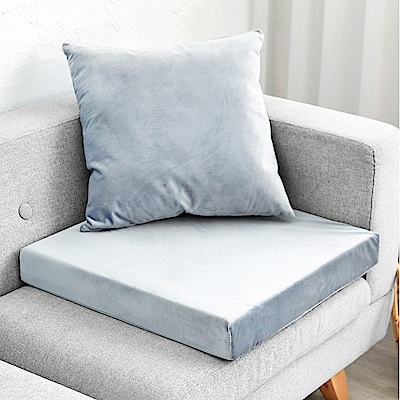 凱蕾絲帝 高支撐記憶聚合加厚絨布坐墊/沙發墊/實木椅墊55x55cm-灰藍(一入)