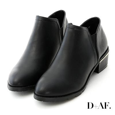 D+AF 俐落登場.素面側鬆緊金屬跟短靴*黑