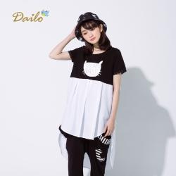 【Dailo】不規則剪接娃娃裝上衣(二色)