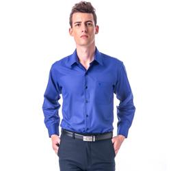 金‧安德森 藍色斜紋吸排長袖襯衫