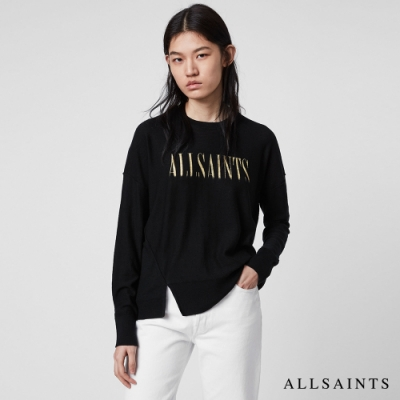 ALLSAINTS A SAINTS BLEACH 落間開叉素面LOGO羊毛針織上衣-黑