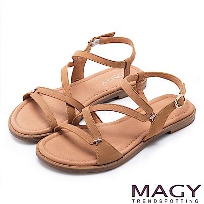 MAGY 休閒時尚 造型剪裁皮革平底涼鞋-棕色