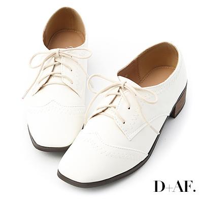 D+AF 英倫典範.拷克車線方頭綁帶牛津鞋*白