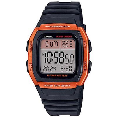 CASIO 樂活休閒運動數位電子錶(W-96H-4A2)橘框/43.9mm