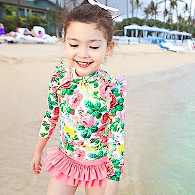 JoyNa長袖碎花公主裙兒童泳衣泳褲三件套組