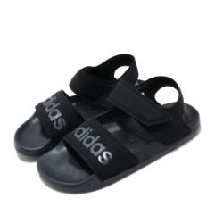 adidas 涼拖鞋 Adilette Sandal 休閒 女鞋 夏日必備 透氣 涼爽 魔鬼氈 黑 灰 F35417