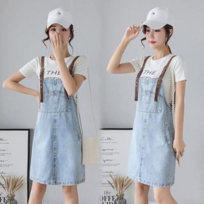 【韓國K.W.】(預購)素色色調連身牛仔吊帶裙-1色