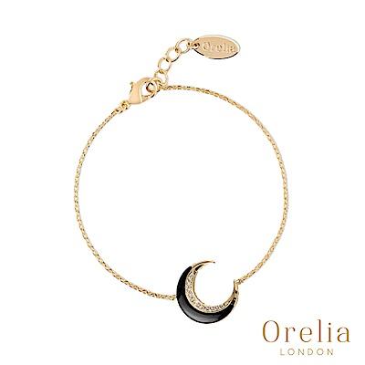 Orelia 英國倫敦 時尚月牙鍍金手鍊(黑)
