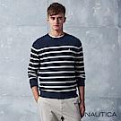 Nautica經典深藍條紋針織長袖毛衣