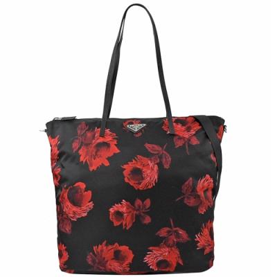 PRADA 三角LOGO花朵圖案尼龍兩用購物包(黑/紅)