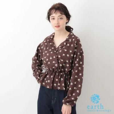 earth music  花卉圖案收腰襯衫領長袖上衣
