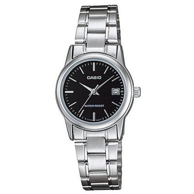 CASIO 實用錶款日期顯示點時刻不鏽鋼腕錶-丁字黑面(LTP-V002D-1)/25mm