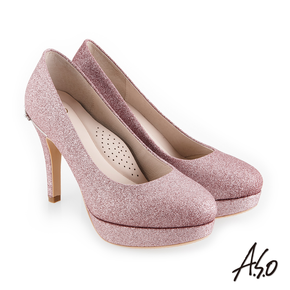 A.S.O 璀燦宴會 金蔥鞋面奢華浪漫高跟鞋 粉紅