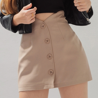 AIR SPACE 高腰V型剪裁排釦短裙(卡其)