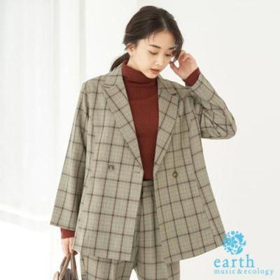 earth music 格紋/素面定番剪裁西裝外套