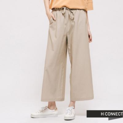 H:CONNECT 韓國品牌 女裝 -素面質感鬆緊寬褲 - 卡其