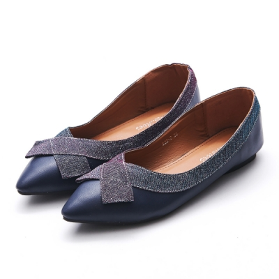 A one  閃亮交叉織帶尖頭平底鞋-深藍