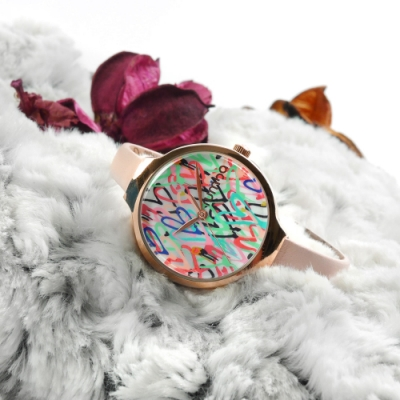 rumba time 紐約品牌 礦石強化玻璃 真皮手錶-彩色x玫瑰金框x粉/32mm