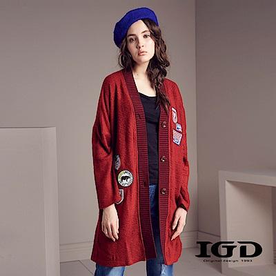 IGD英格麗 針織拼接布章長版開襟外套-紅色