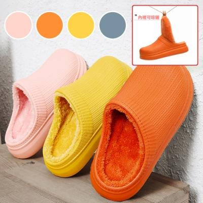 【泰GER生活選物】EVA絨毛厚底防水防滑保暖室內拖鞋|4色
