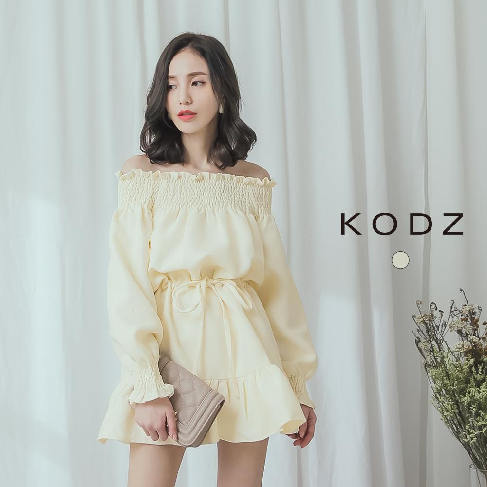東京著衣-KODZ 名媛品味一字領鬆緊花邊棉麻洋裝-S.M