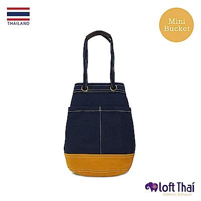 Loft THAI | 泰.兩用帆布水桶包(小) | Navy/mustard