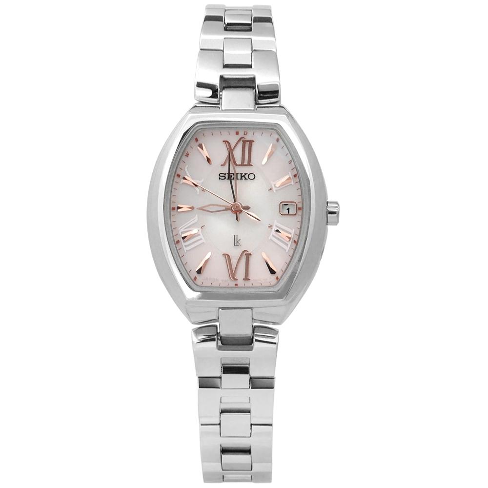 SEIKO 精工 LUKIA 太陽能 電波 鈦金屬手錶-典雅粉/25mm