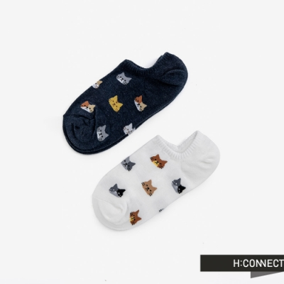 H:CONNECT 韓國品牌 女襪 - 貓咪圖樣短襪組-白