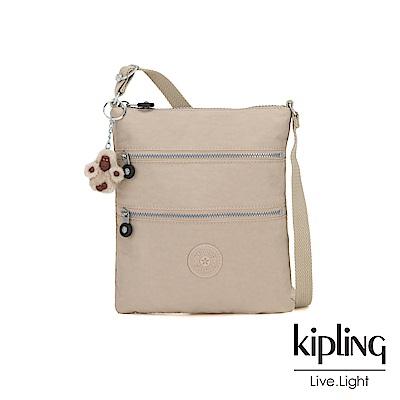 Kipling 溫暖奶茶色前袋雙拉鍊方型側背包-KEIKO