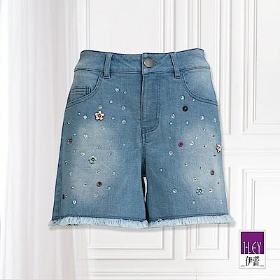 ILEY伊蕾 立體珠花抽鬚牛仔短褲(藍)
