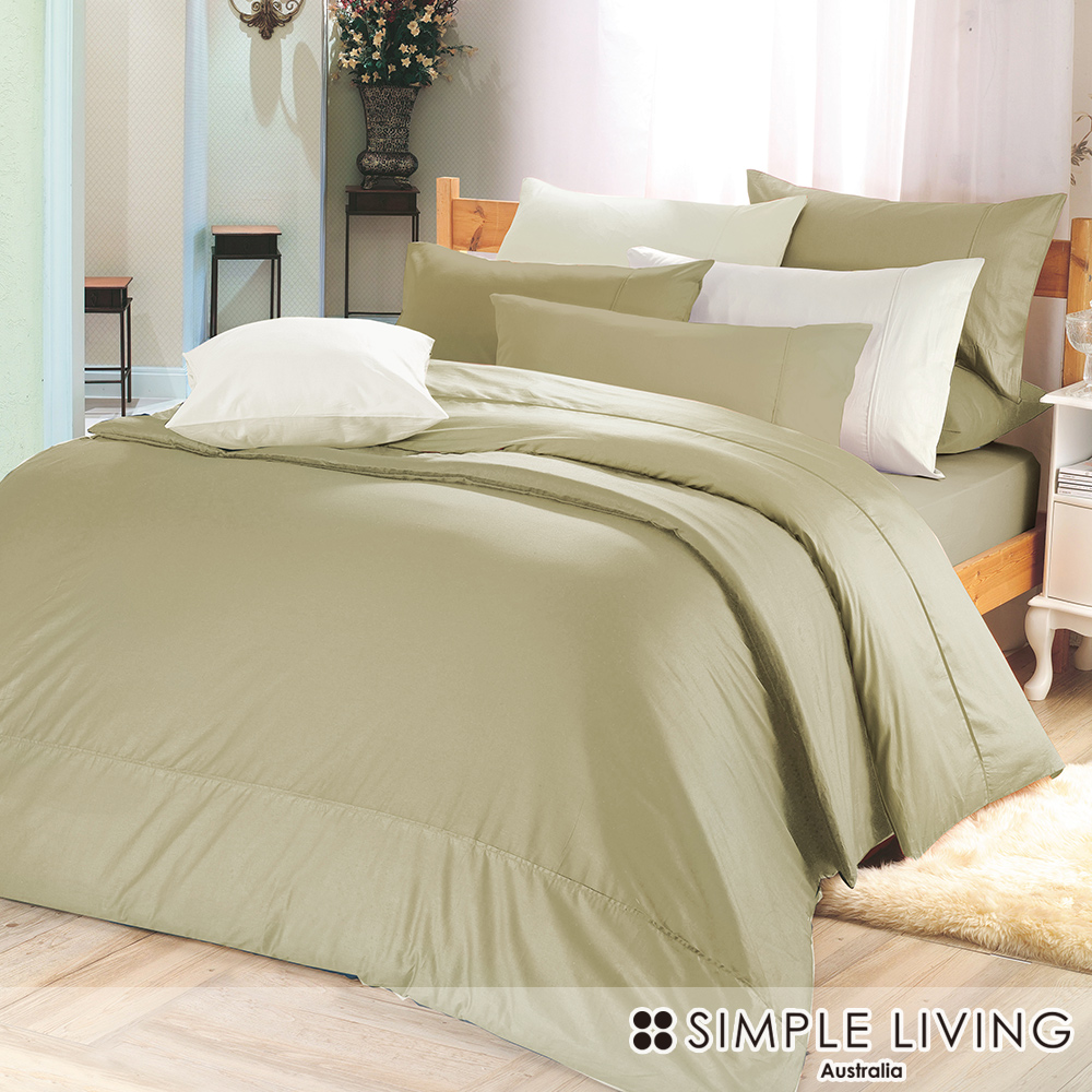澳洲Simple Living 單人300織台灣製純棉床包枕套組(質感灰綠)