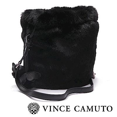 VINCE CAMUTO 絨毛小巧斜肩包-黑色