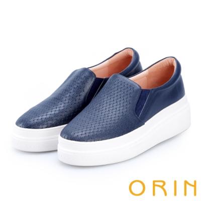ORIN 引出度假氣氛 牛皮編織造型厚底便鞋-藍色