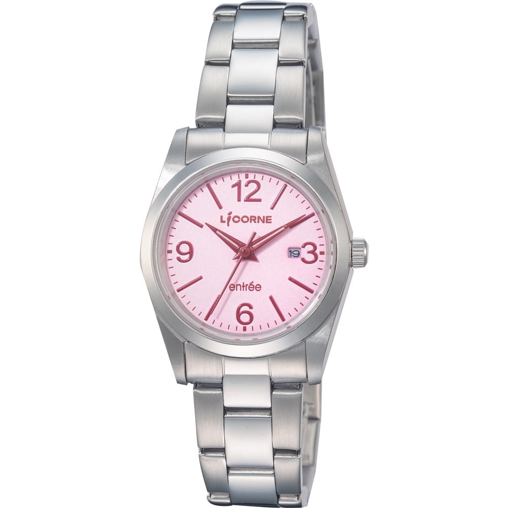 LICORNE 力抗錶 都會簡約雅致手錶-粉紅×銀/30mm