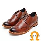 GEORGE 喬治皮鞋 內增高系列-經典漸層雕花綁帶紳士皮鞋-酒紅色