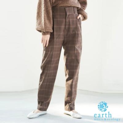 earth music 定番素面/格紋打摺剪裁錐形褲