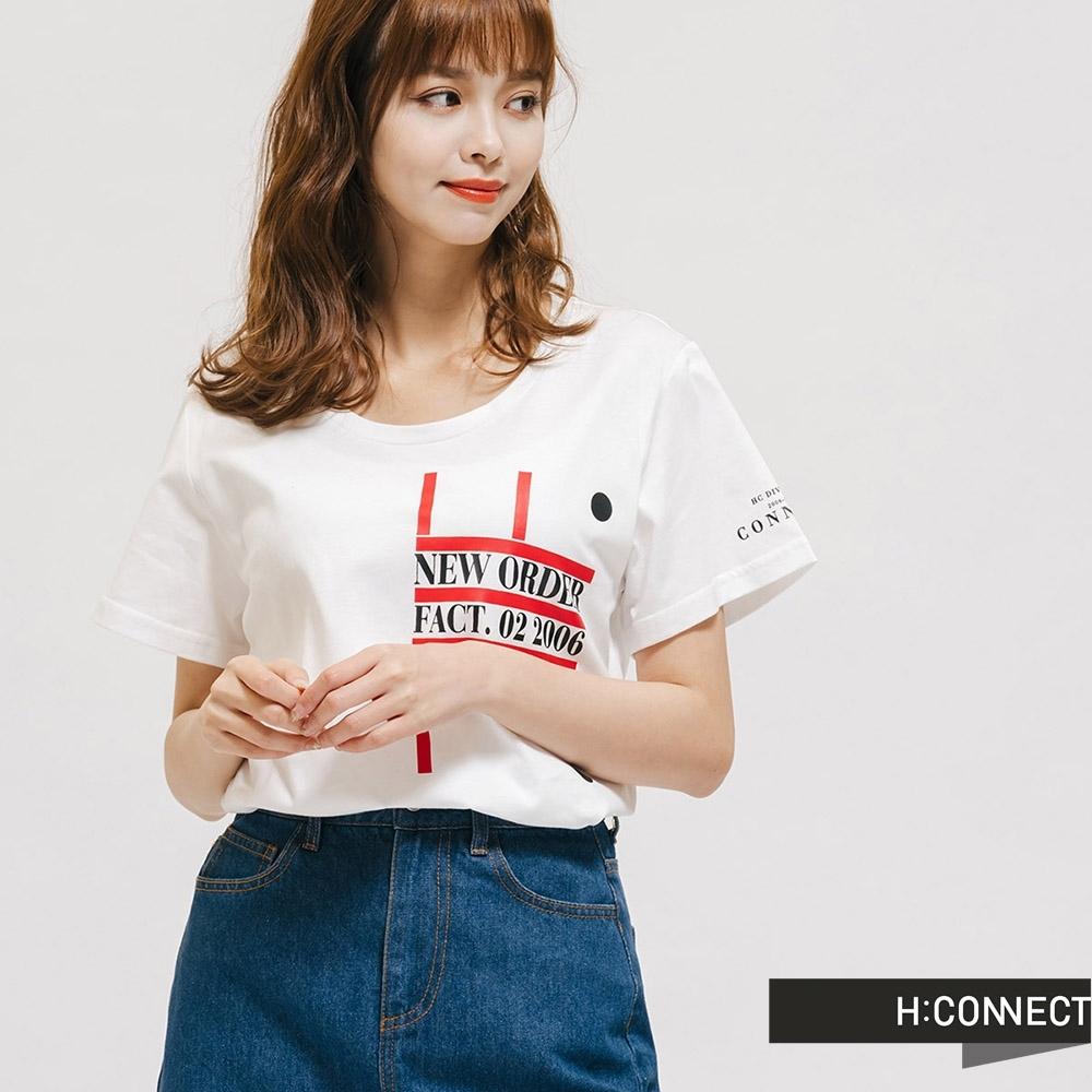 H:CONNECT 韓國品牌 女裝 -圓領簡約字樣T-Shirt-白