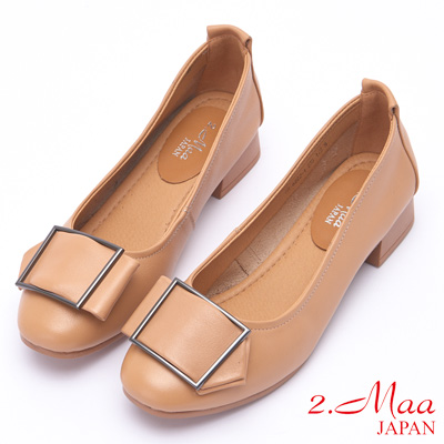 2.Maa 簡約方釦牛皮低跟娃娃鞋 - 米