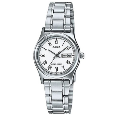 CASIO 時尚簡約日期顯示羅馬時刻不鏽鋼腕錶-白(LTP-V006D-7B)/25mm