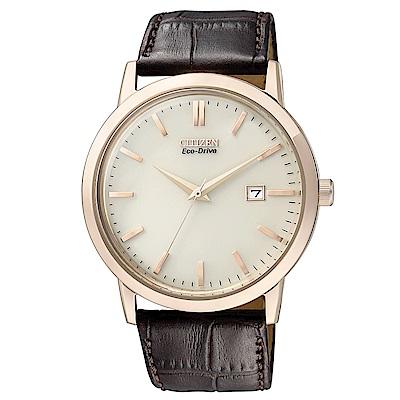 CITIZEN 星辰光動能時尚真皮手錶(BM7193-07B)-米x咖啡/40mm