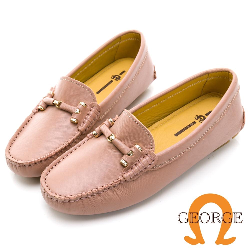 GEORGE 喬治皮鞋真皮十字壓紋皮革條釦樂福鞋 -粉 031007BJ