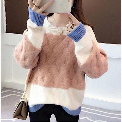 DABI 韓系時尚拚色針織毛衣長袖上衣
