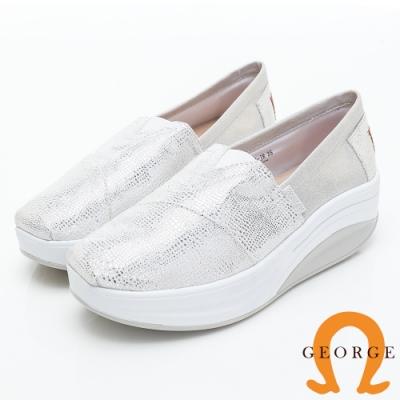 GEORGE 喬治皮鞋 舒適彈力亮面厚底休閒鞋-銀色