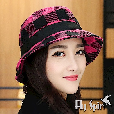 FLYSPIN 保暖羊毛混紡蝴蝶結織帶裝飾漁夫防風圓邊淑女盆帽