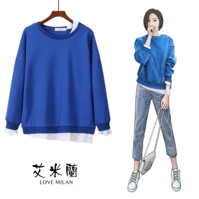 艾米蘭-簡約素面假兩件造型上衣-3色(L-XL)