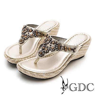 GDC-貴氣閃耀水鑽楔型夾腳拖鞋-金色