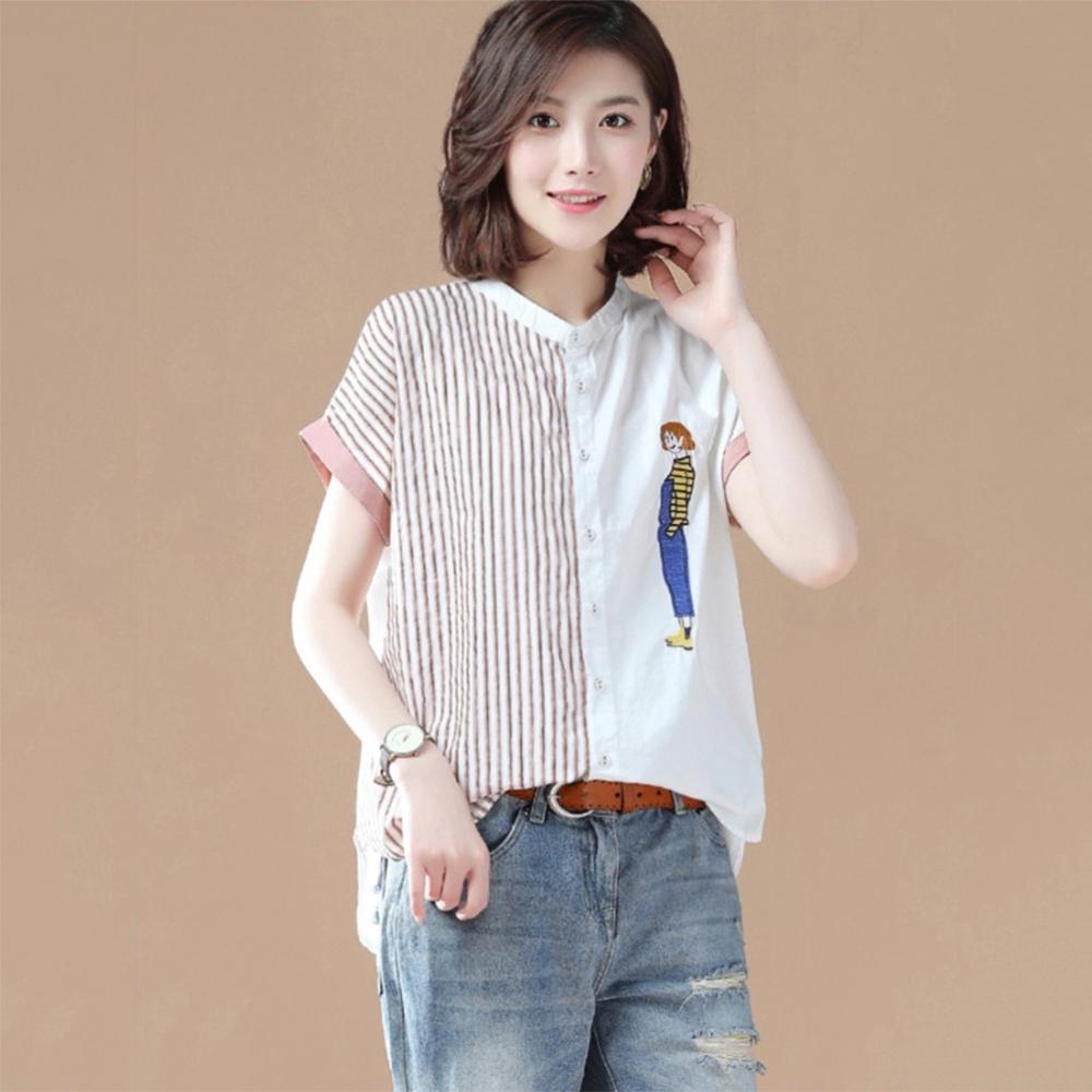 初色  不對稱刺繡拼接襯衫-白色-(M-2XL可選)